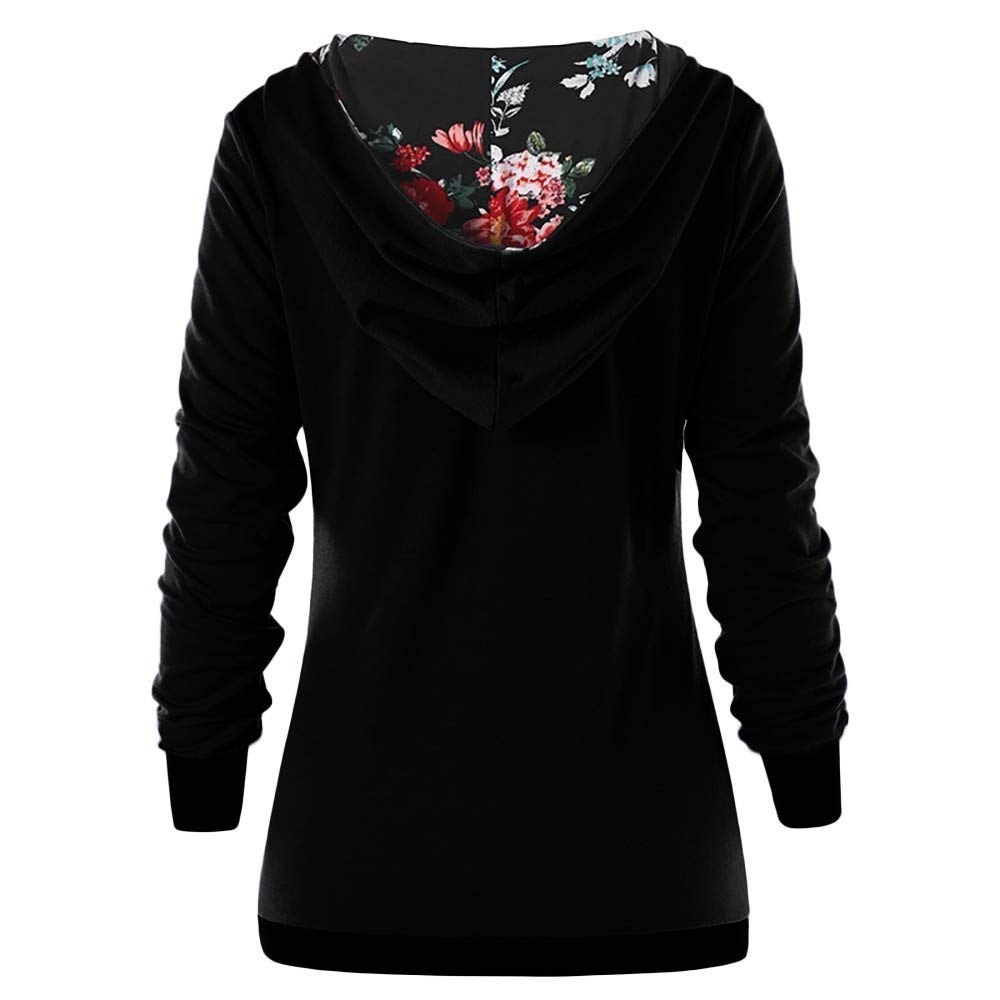 Usstore  Women Hoodie Sweatshirt Floral Printed Fall Winter Mandatory Fashion Casual Button Pleated Daily T-Shirt Top