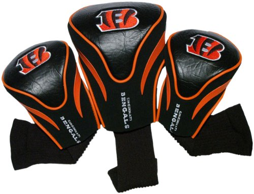 (Team Golf NFL Cincinnati Bengals Contour Golf Club Headcovers (3 Count), Numbered 1, 3, & X, Fits Oversized Drivers, Utility, Rescue & Fairway Clubs, Velour lined for Extra Club Protection )