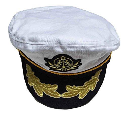 Capas Adjustable Flagship Captain Yacht Cap, White -  Capas Headwear, 4331493971