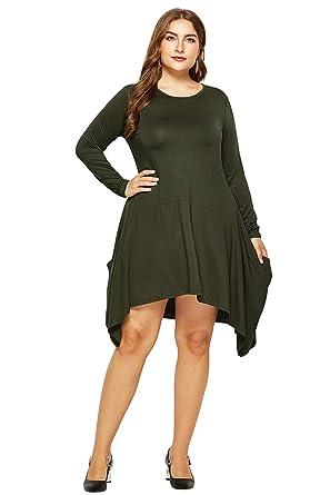 703293a0295a0 YMING Women s Plus Size Casual Dress Asymmetrical Midi Dress Army Green M