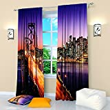Cheap City Window Curtains Bridge California. Window Curtain Set of 2 Panels Each W52 x L96 Total W104 x L96 inches Drapes for Living Room Bedroom Kitchen
