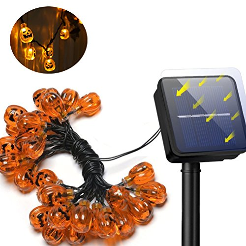 YBB Solar Pumpkin String Lights, Waterproof Halloween Christmas Decoration String Lights, 30 LED Lights 8 Flickering Modes Jack-O-Lantern for Outdoor, Home, Patio, Garden (7.5m/25ft- Warm - Outdoor Light Jack O-lantern