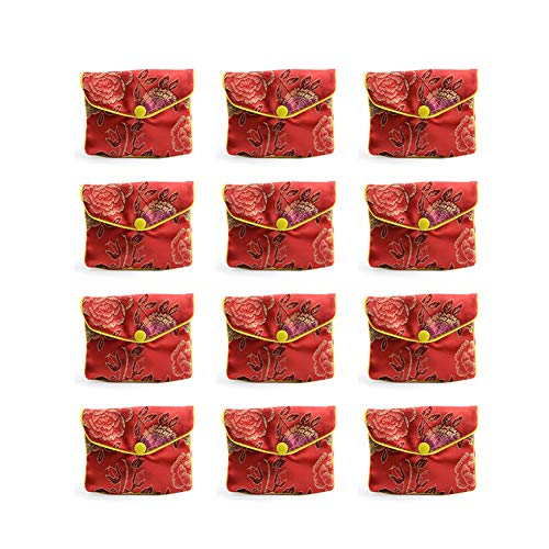Whthteey 12 Pcs Jewellery Pouch Chinese Silk Brocade Purse Embroidered Zipper Gift Bag (Random Color)