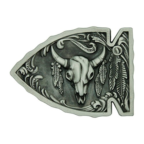 [RIDE AWAY Adult Unisex Native American Arrowhead Buffalo Skull Belt Buckle (Silver)] (Buffalo Buckle)