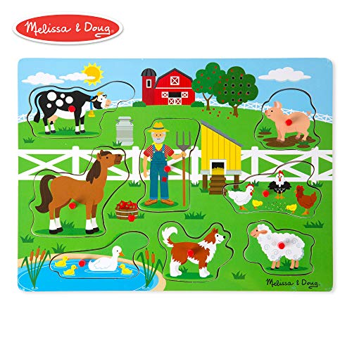 Melissa & Doug Old MacDonald's Farm Sound Puzzle (Musical Wooden Peg Puzzle, 8 Pieces)