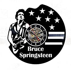 Bruce Springsteen Vinyl Wall Clock 12 in(30cm) Black Decor Modern Decorative Vinyl Record Wall Clock This Clock is A Unique Gift to Your Friends and Family for Any Occasion ...