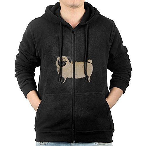 Pugster Puppy (Lovely Dog Puppy Pug Men's Full Zipper Drawstring Hoodie Kangaroo Pocket Sweatshirts)