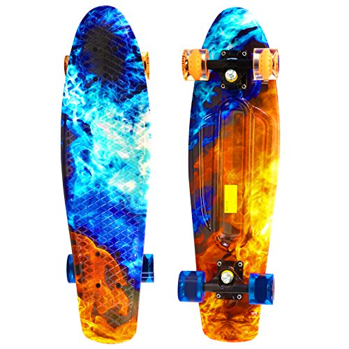 Flame Complete Skateboard - Scale Sports 27 Skateboard Complete Street Retro Cruiser Print Deck