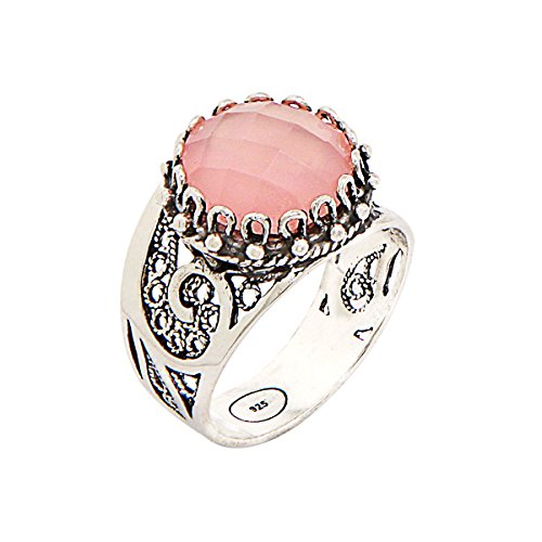 925 Sterling Silver Pink Agate Round Filigree Paisley Ring (Size 6 - 10) (9)