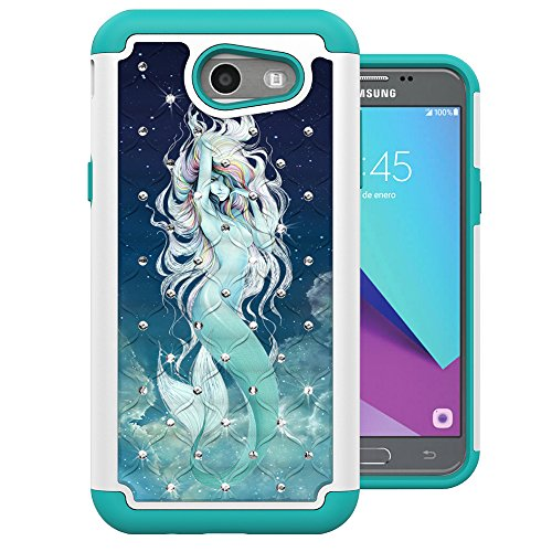 For Samsung Galaxy J3 Emerge Case, J3 2017 Case, J3 Prime Case, Amp Prime 2 Case, Express Prime 2 Case, MagicSky [Shock Absorption] Studded Rhinestone Bling Dual Layer Protective Case Cover (Mermaid)