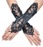 Women' Flora Short Wedding Dress Glove Fingerless Elegant Gloves for Bride Party