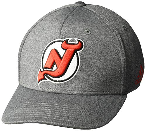 adidas NHL New Jersey Devils Structured Flex Hat, Large/X-Large, Grey