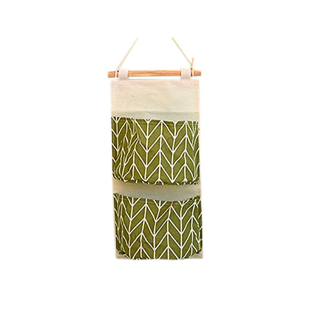 Freeby Over The Door Organizer Wall Closet Hanging Storage Bag Multilayer Linen Fabric Pouch Debris (Green)