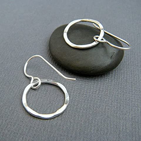 small sterling silver drop hoop earrings. hammered wavy round circle dangle. classic everyday jewelry. 5/8 - Hammered Round Hoop