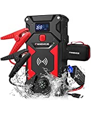 FNNEMGE Car Jump Starter 2500A Peak 24800mAh 12V Super Safe Jump Starter(Up to All Gas, 8.0L Diesel Engine), with 10W Wireless Charger Power Bank, with Smart Jumper Cable, USB Quick Charge 3.0 …