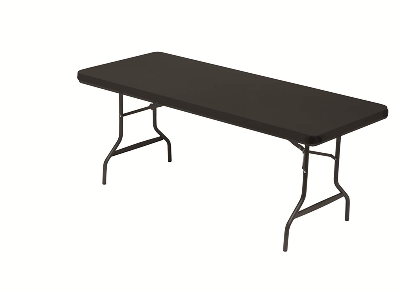 Polyester//Spandex 6 Feet Black Iceberg 16621 Stretch Fabric Table Top Cap Cover