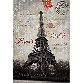 AOFOTO 5x7ft Vintage Postcard Background Paris Eiffel Tower Photography Backdrop Lovers Girl Woman Man Boy Adult Portrait Nostalgia Valentines Day