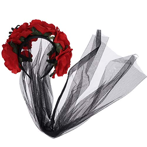 Amosfun Halloween Bride Veil Lace Spider Rose Flower Veil Bride Cosplay Accessory Undead Day Dress-up Headpiece]()