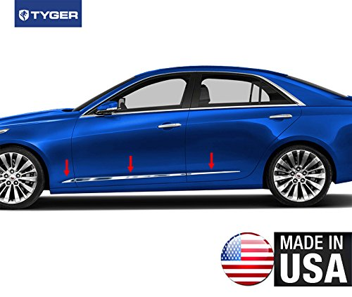 Made In USA! TYGER Fit 2014-2015 Cadillac CTS Sedan Lower Acent Body Side Molding Trim 1 1/8'' Wide 6PC Overlay