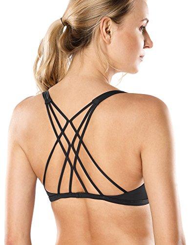 CRZ YOGA Women's Removable Pads Yoga Top Cross Strappy Back Sports Bra Black S Fit 32D 34A 34B 34C (Bra Sport Cross)