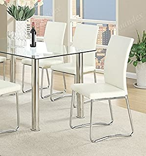Poundex PDEX-F1438 Side Chair, White Faux Leather, Set of 2