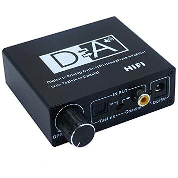 velidy 2 Vías DAC Convertidor, volumen ajustable, Óptico Toslink coaxial a analógico RCA L