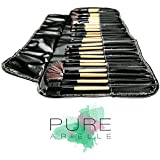 Insane Deal! Ends Today! Pure Arielle Professional 24 Piece All Natural Real Hair Makeup Brush Set - Handle Pcs Cosmetic Beauty Brushes Kit - Make Up Leather Organizer Case / Bag - Not Cheap Synthetic