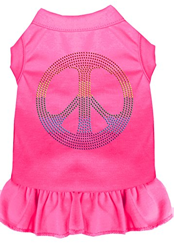 Mirage Pet Products 57-18 SMBPK Pink Rhinestone Rainbow Peace Dress Bright, Small