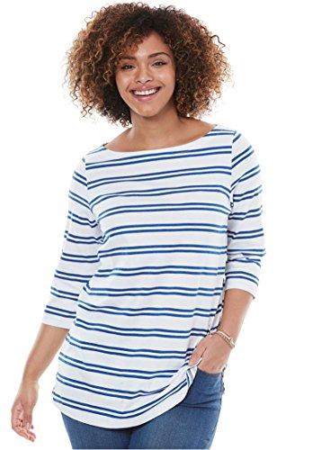 Womens Plus Size Perfect Boatneck Tee Twilight Blue Double Stripe 18 20