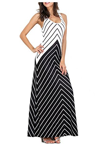 Trendy Chevron Stripe Dress Criss Cross Back Zig Zag Print Sleeveless Tank Maxi Long (Chevron Cross)