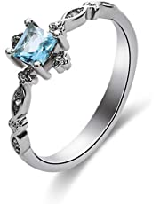 GerTong 1 PCS Luxury Women's Ring Elegant Blue Zircon Diamond Sparkly Rings Anniversary Engagement Ring Jewelry Gifts for Women Lady Girls Size 7#