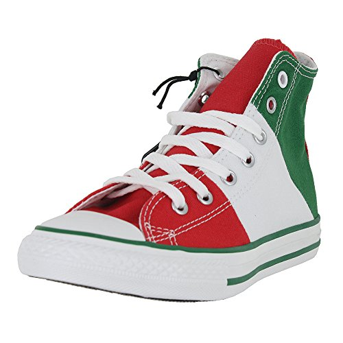 KIDS CONVERSE ALL STAR HI TRI PANEL MEXICO SHOES GREEN WHITE RED SIZE 3 - Image 5