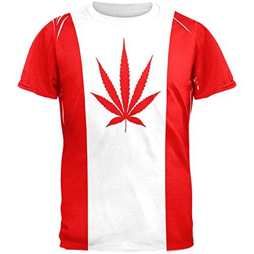 5d43a76ea98858 Canada Flag Pot Leaf Marijuana All Over Mens T Shirt Multi 2XL