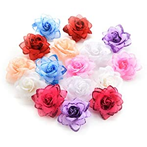 Fake flower heads in bulk wholesale for Crafts Silk Rose Flowers Head Artificial Flowers for Birthday Wedding Home Party Decoration & Wedding Car Corsage Decoration 30PCS 4.5cm (Colorful) 23