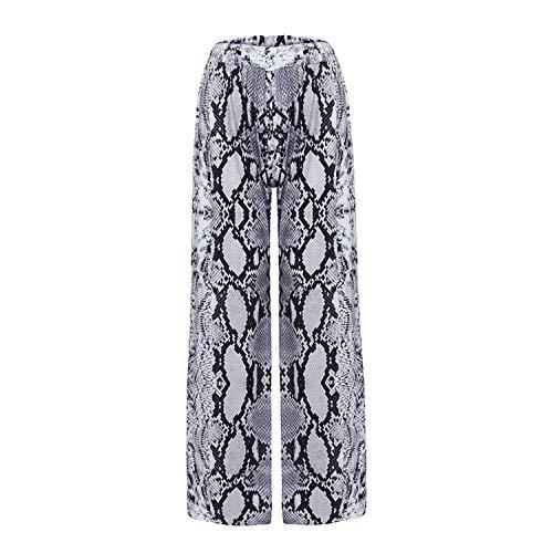 - Casual High Waist Leopard Print Loose Women Pants Comfort Flare Wide Leg Long Animal Girls Pants,Gray,XL