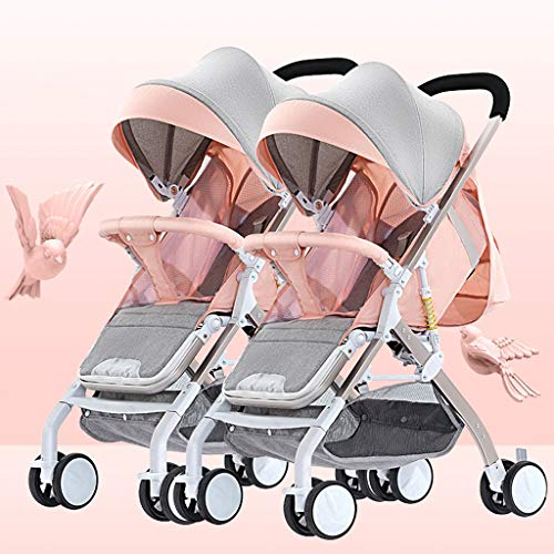 Baby Stroller Tandem Foldable Stroller, Easy Folding Baby Stroller with Side by Side Twin Seats,Double Toddler Baby Pram with Baby Basket Anti-Shock Springs, Portable Anti-Shock High View Carriage
