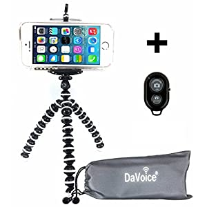 Flexible Tripod - Cell Phone Tripod Adapter - Bluetooth Remote Control - Travel Bag - iPhone X 8 7 6 6S SE 5 5s 5c 4s 4, Samsung Galaxy S8 S7 S6 S5 S4 S3 S2 - DaVoice (White/Black)