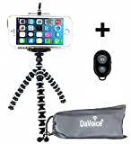 gorilla stand - DaVoice Flexible Tripod - Cell Phone Tripod Adapter - Bluetooth Remote Control - Travel Bag - Compatible/Replacement for iPhone X 8 7 6 6S SE 5 5s 5c 4s 4, Samsung Galaxy S9 S8 S7 S6 S5 (White/Black)