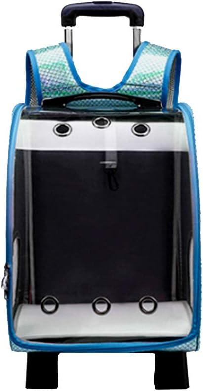 Asdomo - Mochila de viaje para mascotas con carrito y asa telescópica, bolsa de equipaje portátil con agujero multitranspirable