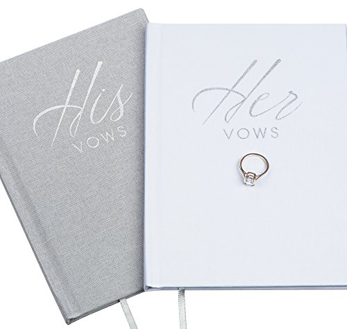 FLUYTCO Wedding Vow Book Keepsakes (2 Book Set, His & Hers) Linen Hardcover - Bonus Wedding Day Cards - Vow Renewal - Bridal Shower Gifts - Booklet - Journal - Future Mrs & Mr