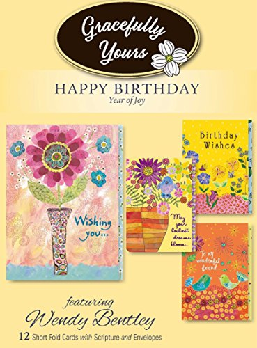 Gracefully Yours Year of Joy Birthday Greeting Cards, 12, 4 designs/3 each with Scripture Message
