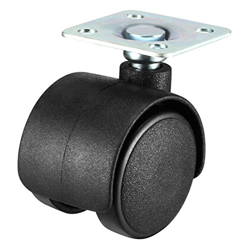 - uxcell Swivel Caster Wheels 1.2 Inch Nylon 360 Degree Rotate Top Plate Mounting Furniture Caster Twin Wheel Black 4 Pcs