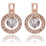 Elegant Women Fashion 18K Rose Gold Filled Swarovski Crystal Engagement Dangle Earrings