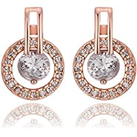 Elegant Women Fashion 18K Rose Gold Filled Swarovski Crystal Engagement Dangle Earrings