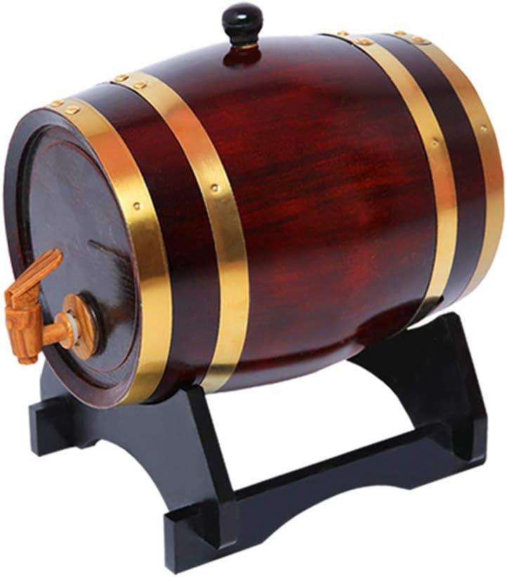 Barril de vino, barril de roble de aluminio, barril de cerveza vieja 3L / 5L / 10l, grifo de madera, aro de barril de cobre puro, utilizado para el almacenamiento o envejecimiento de vino y licores