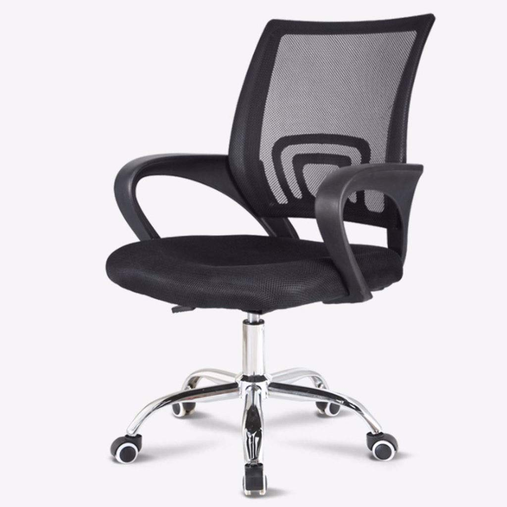 BLACK Computer Chair Office Chair Conference Net Chair Staff Chair Backrest Chair Leisure Stool Training Chair (color   Black)