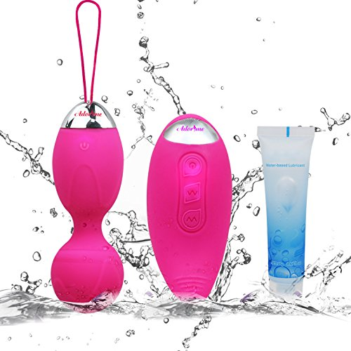Kegel Exercise Weights - Adorime Ben Wa Kegel Balls Weighted Dual 10 Speed Remote Control Waterproof Rechargeable Exercise Kit Gift Toys for Women & Girls Bladder Control & Pelvic Floor Exercises-Rose
