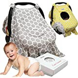 Sho Cute - [Reversible] - Free Shipping - Premium Baby Car Seat Covers - Windproof, Peekaboo Window, Universal Fit, Grey & Yellow Carseat Canopy | Nursing Cover | Baby Gift Boy or Girl -Patent Pending