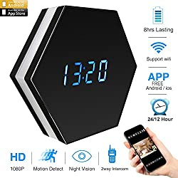 CAMXSW IR Night Vision Wifi Clock Camera with LED Colorful Light HD 4500mAh,Wide Angle Lens Real-time 2-way Communication Free APP Wall Desk Table Clock for Home Security Nanny Camera,Black