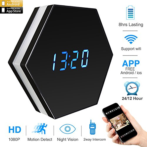 on Wifi Clock Camera with LED Colorful Light HD 4500mAh,Wide Angle Lens Real-time 2-way Communication Free APP Wall Desk Table Clock for Home Security Nanny Camera,Black (Desk Clock Camera)